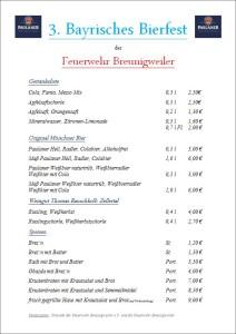 Speisekarte Bierfest