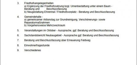 Sitzung des Ortsgemeinderats Breunigweiler am 26.09.2016