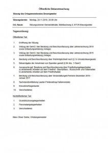 Sitzung des Ortsgemeinderats Breunigweiler am 28.11.2016