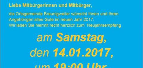 Einladung zum Neujahrsempfang der Ortsgemeinde Breunigweiler