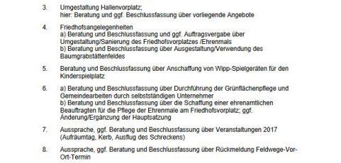 Sitzung des Ortsgemeinderats Breunigweiler – Mittwoch, 23.08.2017 – 19:30 Uhr
