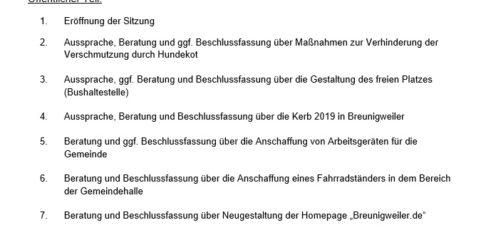 Sitzung des Ortsgemeinderats Breunigweiler am 04.09.2019, um 19:30 Uhr, im Sitzungszimmer der Gemeindehalle