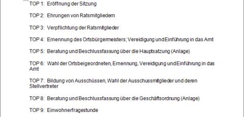 Bekanntmachung der konstituierenden Sitzung des Ortsgemeinderats Breunigweiler
