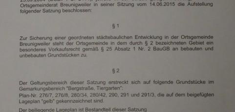 Satzung der Ortsgemeinde Breunigweiler zur Ausübung eines besonderen Vorkaufsrechts gem. § 25 I Nr. 2 BauGB vom 14.06.2015