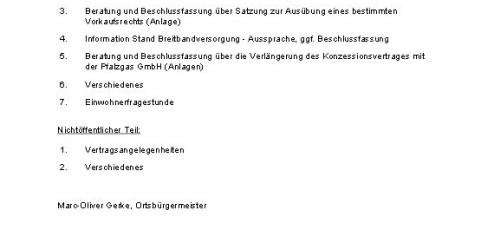 Sitzung des Ortsgemeinderates Breunigweiler