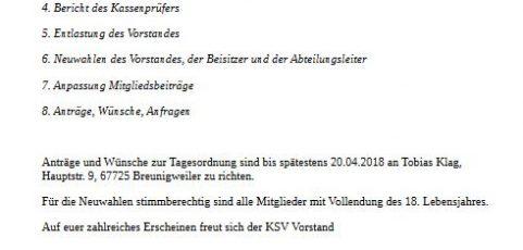 Generalversammlung des KSV Breunigweiler am 27.04.2018
