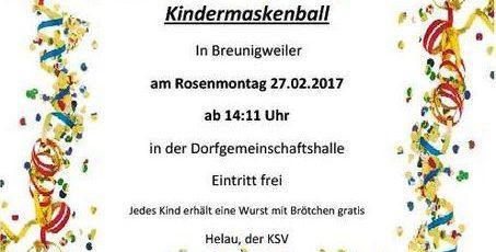 Kindermaskenball am Rosenmontag