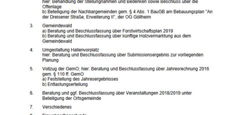 Sitzung des Ortsgemeinderats Breunigweiler – Mittwoch, 10.10.2018, 19:30 Uhr, Sitzungszimmer Gemeindehalle