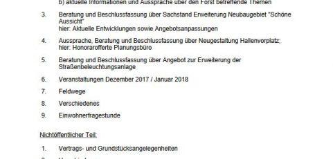 Sitzung des Ortsgemeinderats Breunigweiler am Mittwoch, den 29.11.2017, um 20:00 Uhr, im Sitzungszimmer der Gemeindehalle
