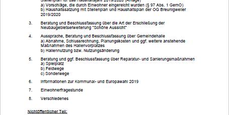 Sitzung des Ortsgemeinderats Breunigweiler am 24.04.2019, um 19:30 Uhr, im Sitzungszimmer der Gemeindehalle