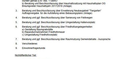 Sitzung des Ortsgemeinderats Breunigweiler – Dienstag, 25.04.2017 – 19:30 Uhr