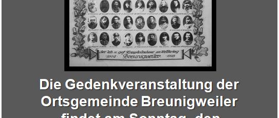 Andacht zum Volkstrauertag 2018 – Sonntag, 18.11.2018, 11:20 Uhr, vor dem Friedhof in Breunigweiler