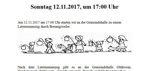 Martinsumzug am 12.11.2017, ab 17:00 Uhr – Start: Gemeindehalle